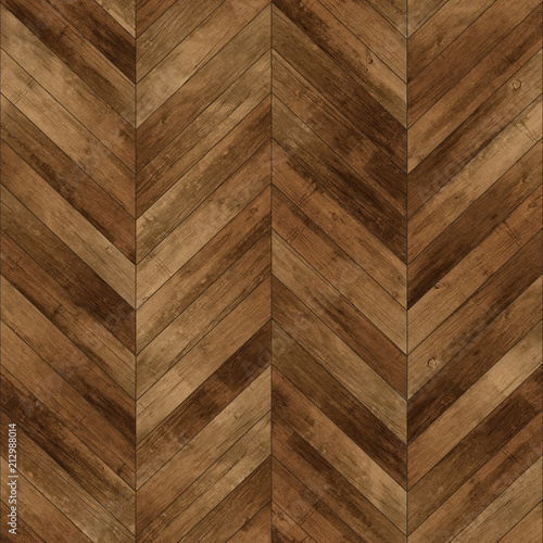 Fototapeta Seamless wood parquet texture (chevron dark brown) obraz na płótnie