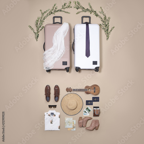 Destination Wedding Couple Packed for Overseas Trip Travel Adventure