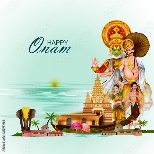 Obraz na plátně  Happy Onam holiday for South India festival background