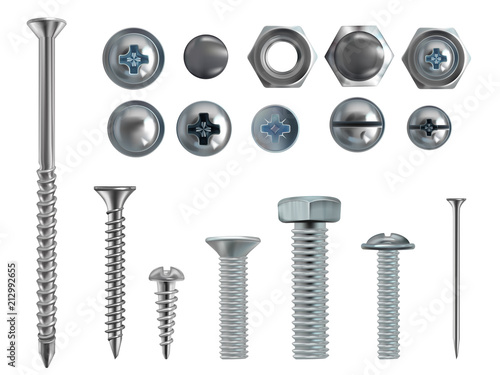 Obraz Vector 3d realistic illustration of stainless steel bolts, nails and screws on white background. Top and side view of industrial chrome hardware, different heads with nuts and washers - fototapety do salonu