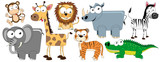 Domestic animals/ pets - collection of funny vector clip-arts (dog, cat, turtle, goldfish, rabbit, guinea pig, snake, parrot)
