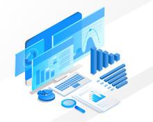 Isometric Business Analysis. Vector Illustration