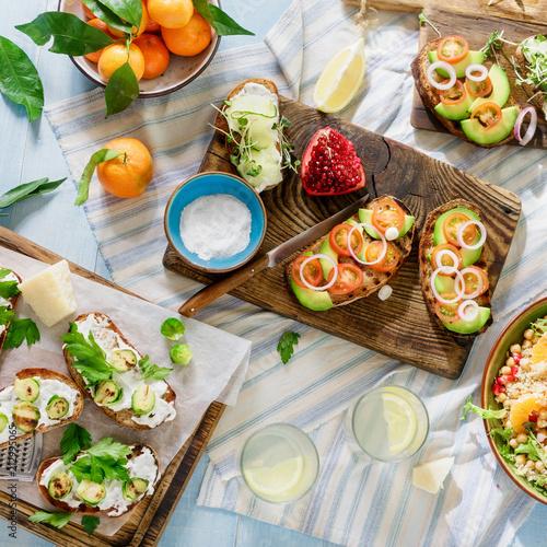 Keuken foto achterwand Set of vegetarian food blue wooden. Vegetarian food concept