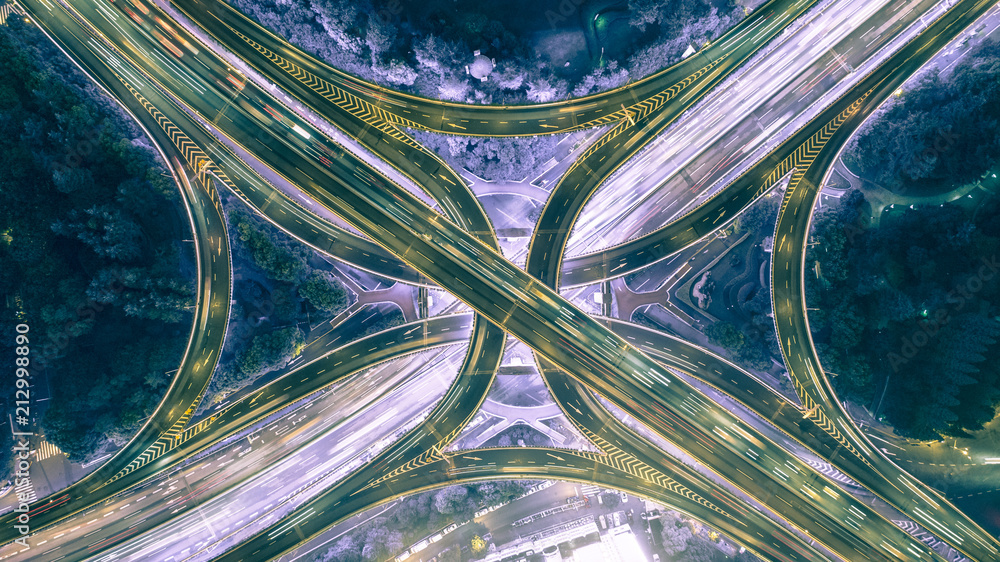 aerial view of highway interchange at night