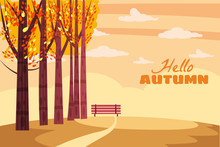Autumn Landscape, Fall Trees W...