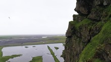 Smooth Drone Shot With Brids And Close Cliff In Iceland