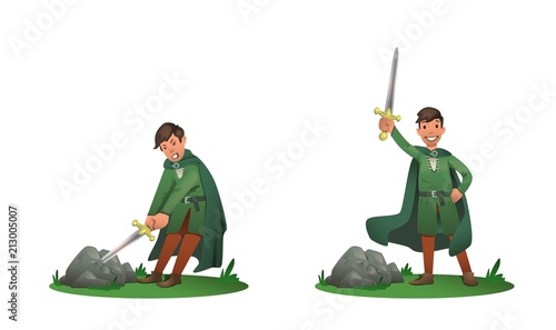 Photo Young King Arthur withdrawing Excalibur of the stone and holding it above the head