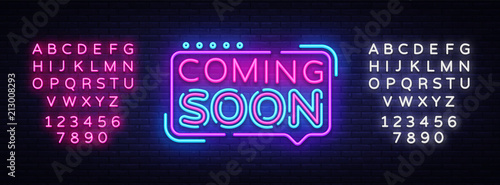 Coming Soon Neon Sign Vector Wallpaper Mural