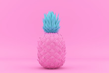 Painted Pink And Blue Pinapple...