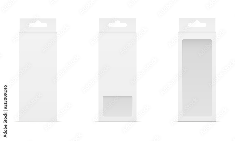 Fototapeta Set of three boxes with transparent window and hanger. Packaging for mobile accessories. Vector illustration