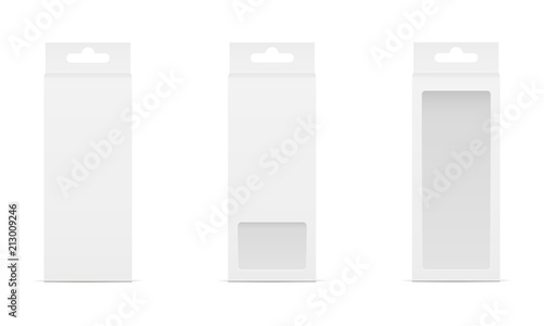 Obraz Set of three boxes with transparent window and hanger. Packaging for mobile accessories. Vector illustration - fototapety do salonu
