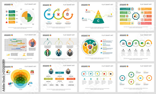 Photo  Colorful planning and strategy concept infographic charts set