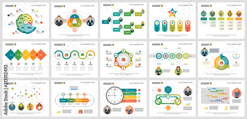 Photo  Colorful management or planning concept infographic charts set