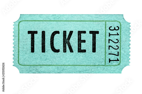 Old cinema ticket isolated white