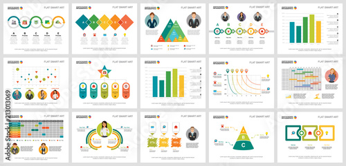 Photo  Colorful project or marketing concept infographic charts set