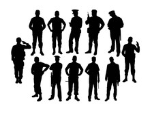 Soldier And Police Silhouettes, Art Vector Design