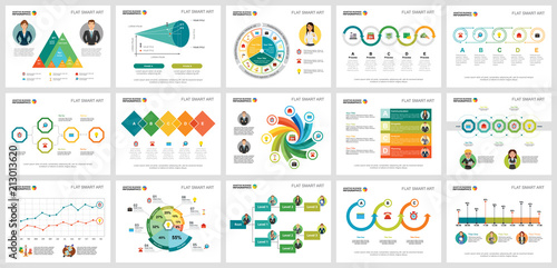 Fototapeta Colorful statistics or training concept infographic charts set. Business design elements for presentation slide templates. For corporate report, advertising, leaflet layout and poster design. obraz