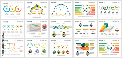 Colorful workflow or teamwork concept infographic charts set Fototapeta