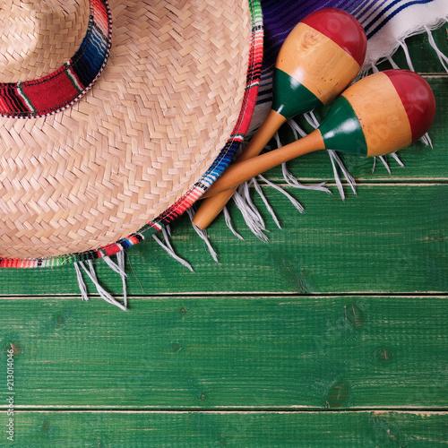 Foto op Aluminium Centraal-Amerika Landen Mexico background mexican sombrero cinco de mayo festival border
