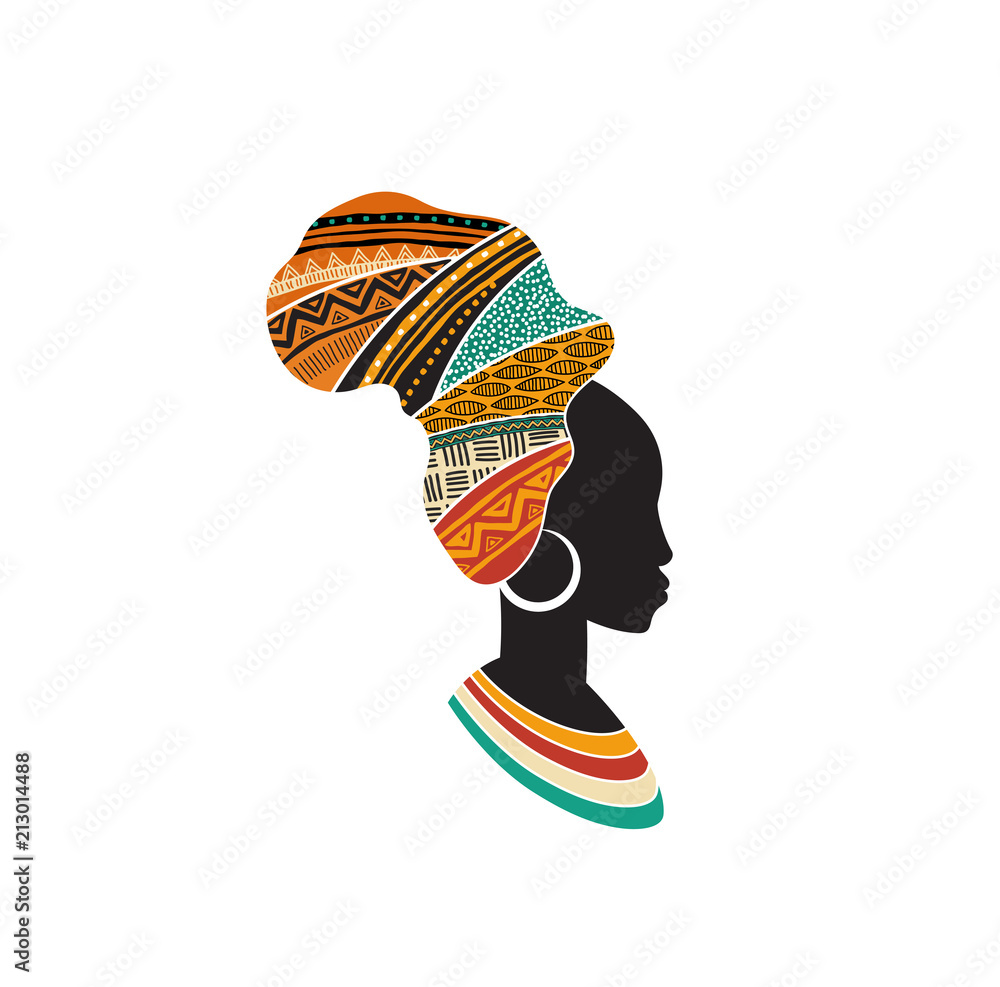 Fototapeta African woman silhouette with an African map as a head wrap. Concept design and illustration