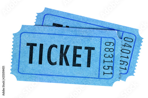 Two tickets blue front view isolated