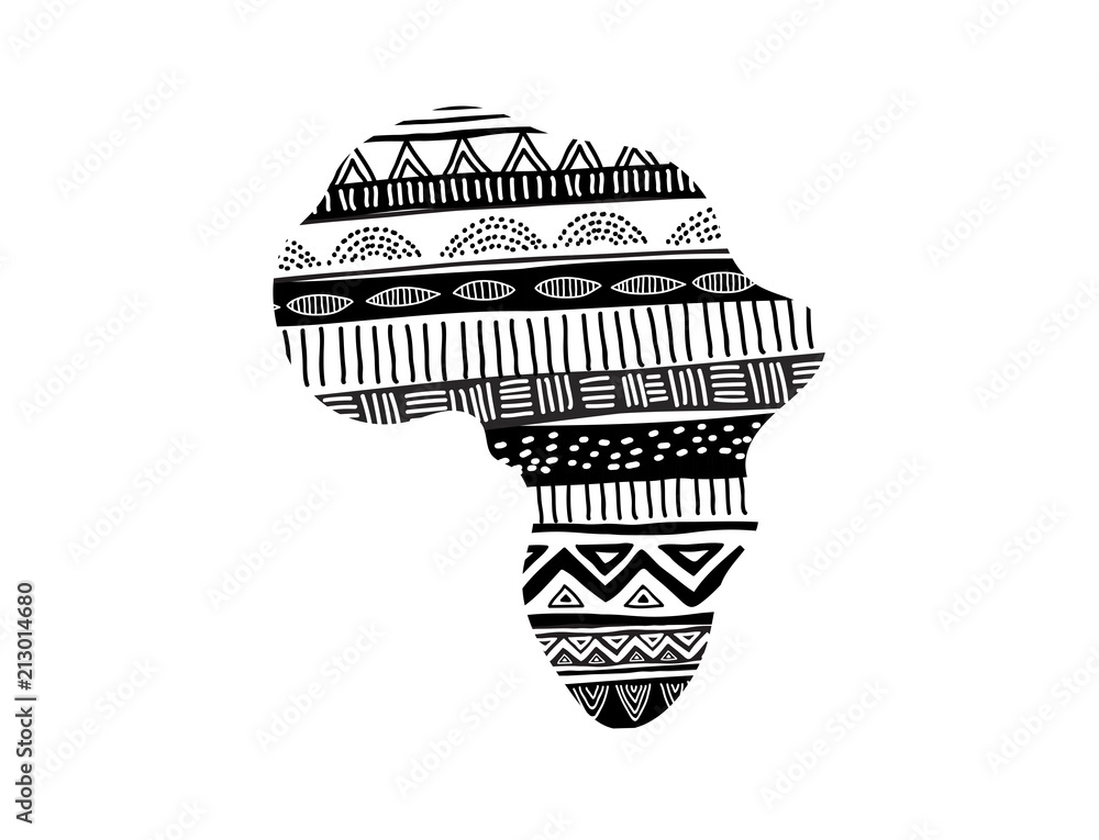 Fototapeta African map silhouette with tribal traditional pattern. Concept design
