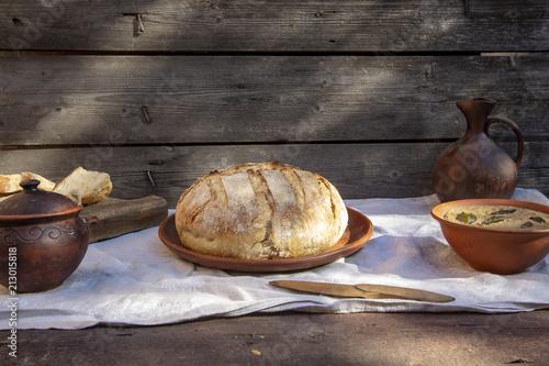 Keuken foto achterwand Brood домашний хлеб и паштет