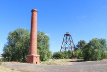 The North Deborah Gold Mine (1937-1954) Poppet Head And Chimney Are The Only Visible Surface Remains At The Site