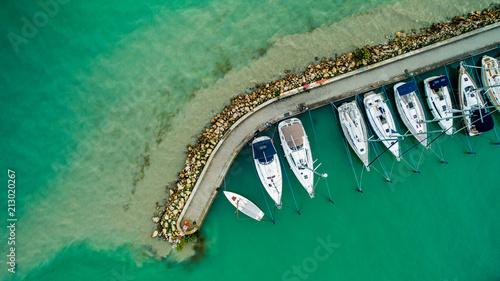Photo Sailboats and small yachts anchored at Lake Balaton, Hungary