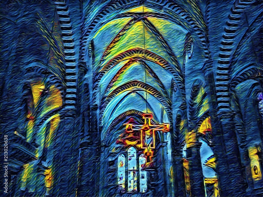 Catholic church interior inside. Old architecture of Italy. Big size oil painting fine art in Vincent Van Gogh style. Modern impressionism drawn. Creative artistic print for poster or postcard.