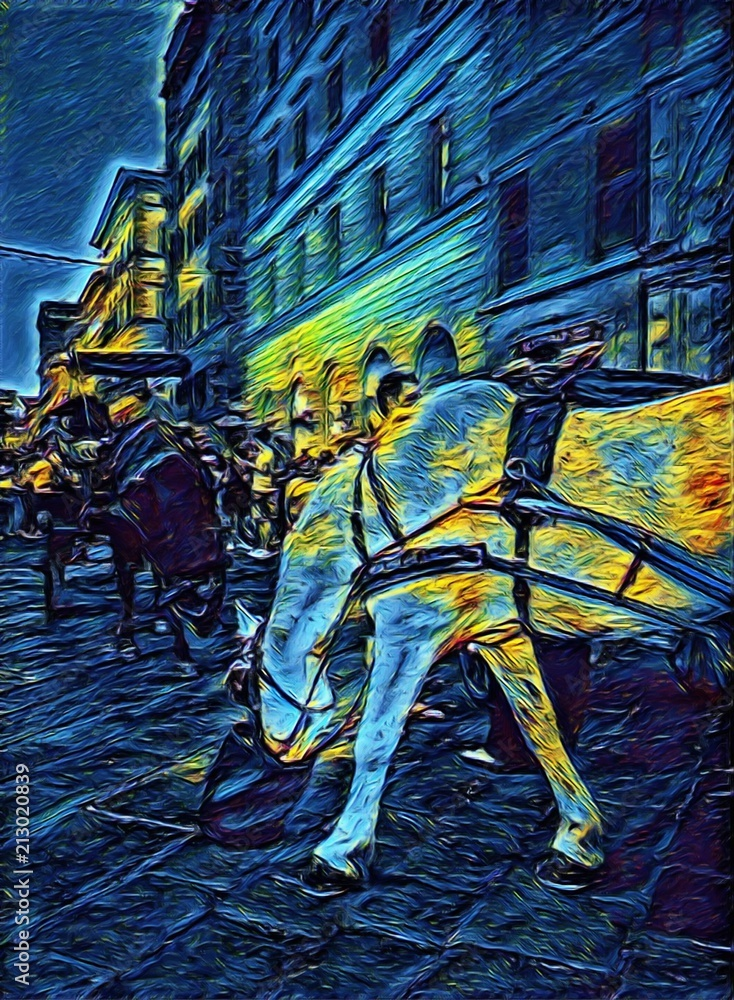 Beautiful horses on an antique vintage street in Florence, Italy. Big size oil painting fine art in Vincent Van Gogh style. Modern impressionism drawn. Creative artistic print for poster or postcard.