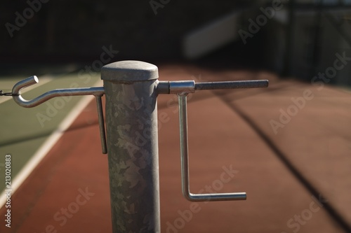 Hook of net in the tennis court