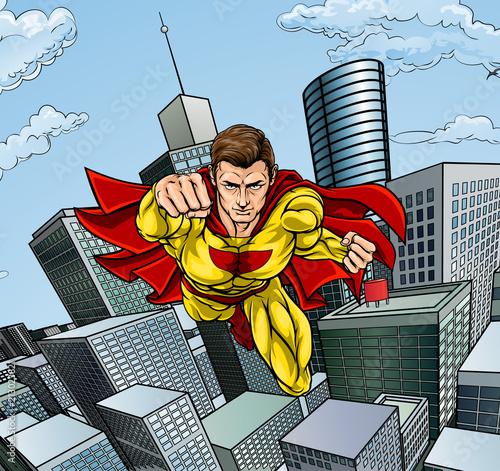 Caped Flying Super Hero City Scene Canvas Print