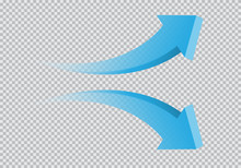 Blue Twin Arrow 3D Curve Direc...