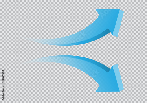 Obraz Blue twin arrow 3D curve direction gradient transparent on checkered background sign symbol vector illustration.  - fototapety do salonu