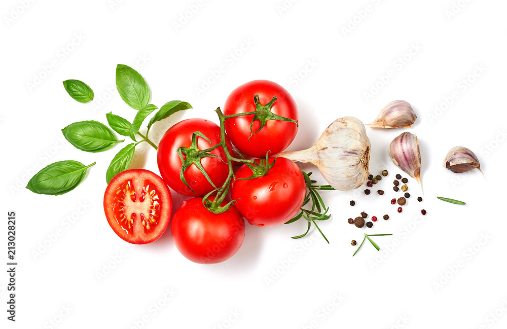 Fototapety, obrazy: Ripe red tomatoes with basil, rosemary, garlic and pepper isolated on white background. Top view.