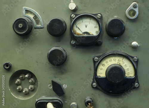 old industrial electronics gauge instruments Canvas Print