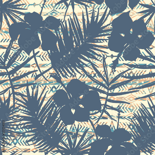 Photo sur Aluminium Style Boho Tribal ethnic seamless pattern with tropical plants.