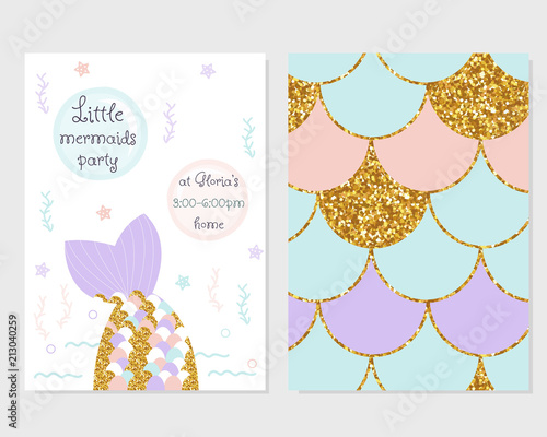 Cute Party Invitation With Mermaid Tail Scale Pattern And Gold Glitter Elements Vector Hand