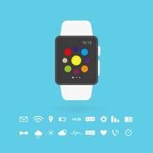 Smart Watch Isolated. Set: Technology Icons. Vector Illustration, Flat Design