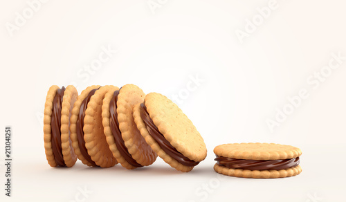 Fotografie, Obraz  Sandwich cookies with chocolate fill, 3d illustration for biscuit package design