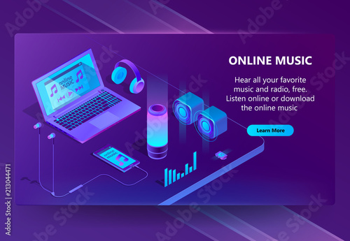 Online music vector isometric concept background in neon