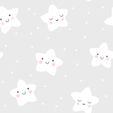 Baby Seamless Pattern With Cute Smiling And Sleeping Stars In Scandinavian Style. Vector Night Sky Background Illustration.