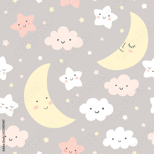 Night sky vector pattern  Cute smiling moon, stars, clouds