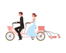 Just Married Couple In Bicycle...