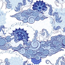 Unicorn And Cloud And Mandala Design For Fantasy  Porcelain Blue And White Tone With White Background  Seamless Pattern Pattern Vector