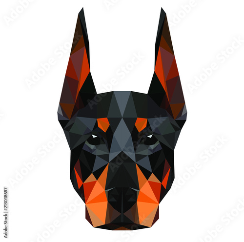 Leinwand Poster Low poly triangular dog doberman face on dark background, symmetrical vector illustration EPS 10 isolated