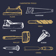 Vector drawing of carpentry tools.Illustration of wood works equipment elements.