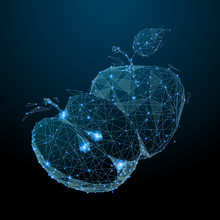 Two Apples. Low Poly Blue. Pol...