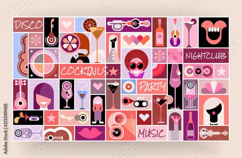 Foto auf Leinwand Abstractie Art Disco Party pop art vector illustration